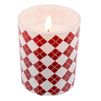 Bougie en verre motif rouge et blanc