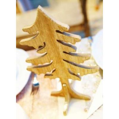 Sapin en bois pailleté or
