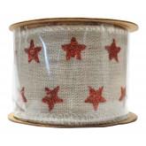 Ruban lin motif étoiles rouges 5 cm x 3 m