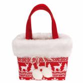 Sac rectangulaire motif Noël en fourrure 11 x 7 x 10 cm