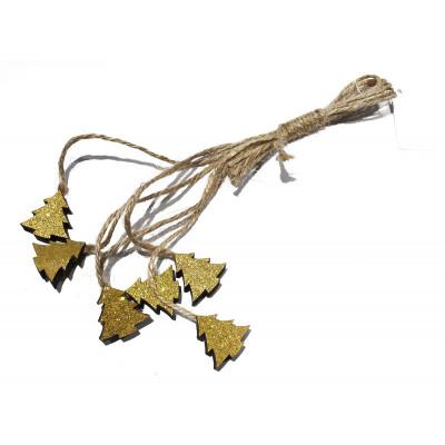 Mini sapins en bois doré avec ficelle en jute (x6)