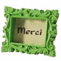 Cadre baroque marque-place vert anis