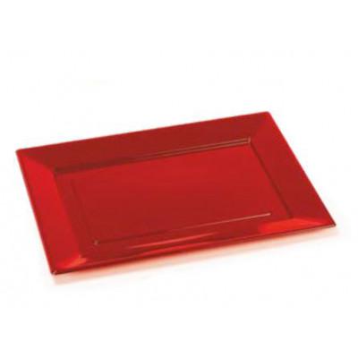 Grands plateaux rectangulaires (x2) rouge