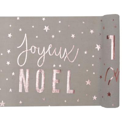 Chemin de table en coton naturel Joyeux Noël Argent