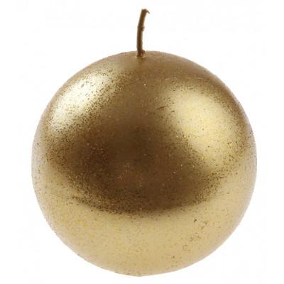 Bougie ronde pailletée or