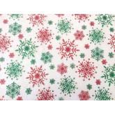 Chemin de table cristal flocon de neige rouge et vert