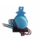 Macaron marque-place bleu turquoise