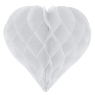 Boule décorative coeur alvéolé blanc (x2)
