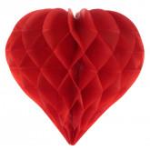 Boule décorative coeur alvéolé rouge (x2)
