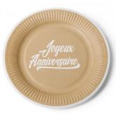 Assiette Joyeux Anniversaire kraft et blanc (x12)