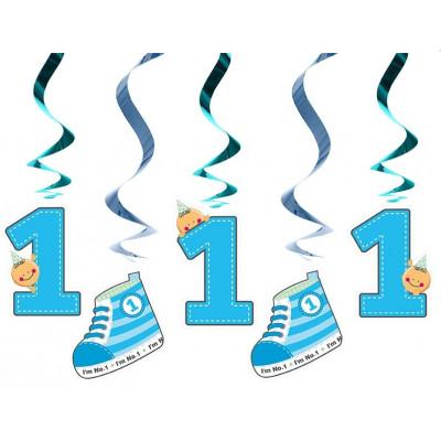 Suspensions 1er âge anniversaire (x5) bleu