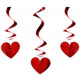 Suspensions métallisées cœurs (x3) rouge