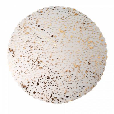 Tulle rond blanc à pointillés or et argent x 25