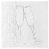 Serviettes blanches argentées et flûtes de champagne (x20)