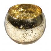 Bougeoir boule en verre mercurisé or