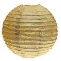 Lampion boule déco pailleté or