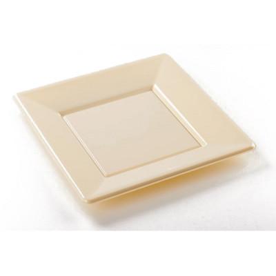 Assiettes carrées (x8) ivoire