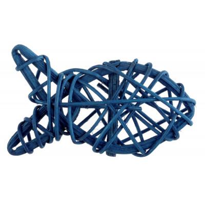 Petit poisson en rotin bleu marine (x4)