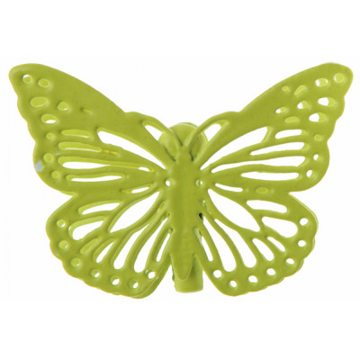 Pinces papillons ciselés (x4) vert anis