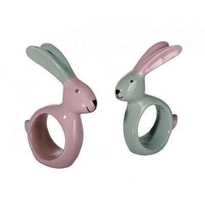 Anneau de serviette lapin rose et gris en céramique