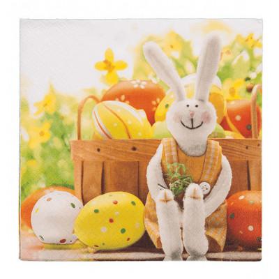 Serviettes en papier lapin et oeufs de Pâques (x20)