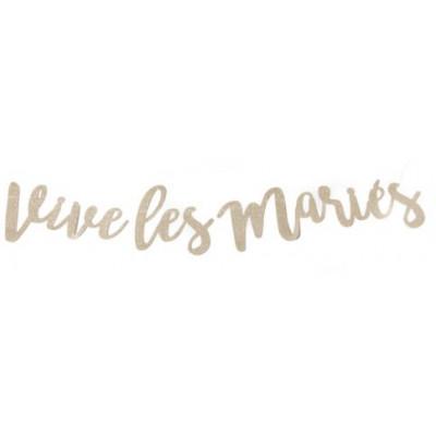 """Guirlande """"Vive les mariés"""" champagne pailleté"""