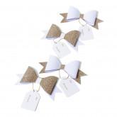 Etiquettes noeuds papillons adhésifs champagne pailleté (x4)