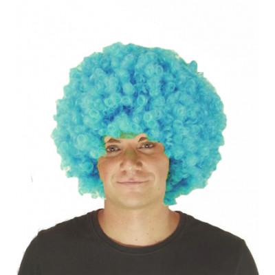 Perruque bleu bouclée