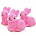 Petits lapins flockés rose (x3)