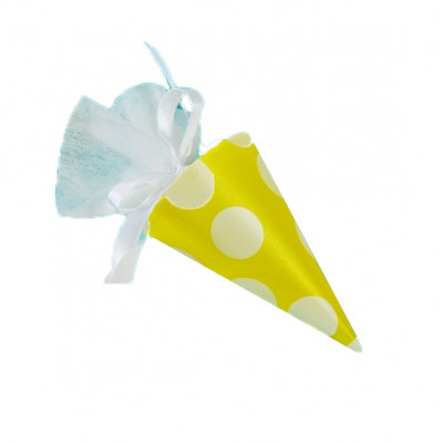 Cornets à dragées à pois (x6) jaune / blanc
