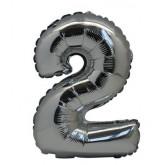 Ballon chiffre 2 métallique argenté
