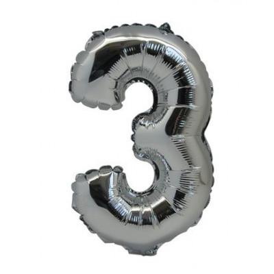 Ballon chiffre 3 métallique argenté