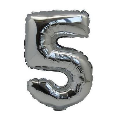 Ballon chiffre 5 métallique argenté