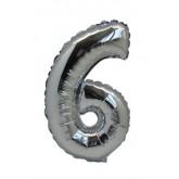 Ballon chiffre 6 métallique argenté