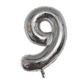 Ballon chiffre 8 métallique argenté