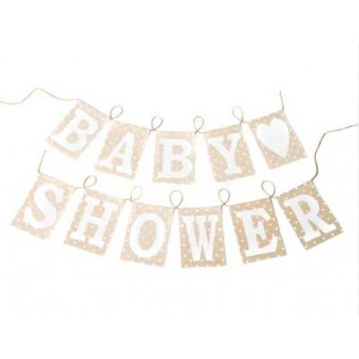 Guirlande fanions Baby Shower en lin