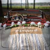 Kit déco romantique pour voiture des mariés en jute et dentelle