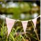 Guirlande fanions en lin, vichy et dentelle