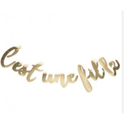 """Guirlande """"C'est une fille"""" métallisée or"""