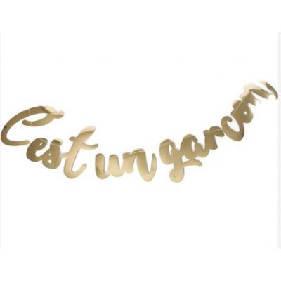 "Guirlande ""C'est un garçon"" métallisée or"