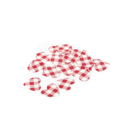 Confettis coeurs vichy en lin (x24)