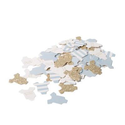Confettis body bébé bleu ciel et or (x100)