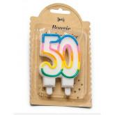 Bougie d'anniversaire multicolore 50