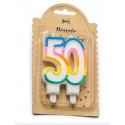 Bougie danniversaire multicolore 50