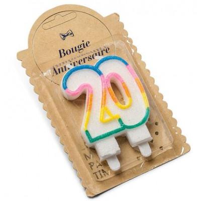Bougie d'anniversaire multicolore 20