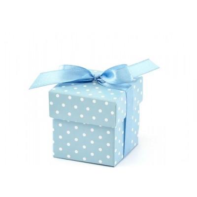 Boites cubes plumetis x10 ciel / blanc