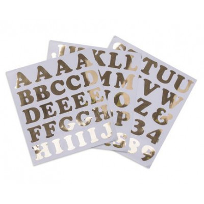 Stickers alphabet et chiffres or x71