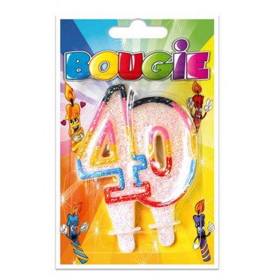 Bougie 40 ans multicolore