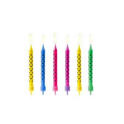 Bougies à pois multicolores (x6)