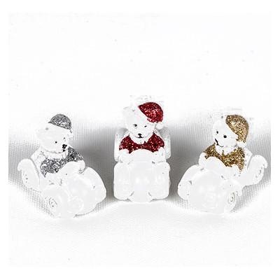 Oursons de Noël en résine sur stickers (x4) or